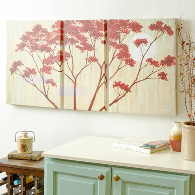 Red Blooms II Painting Print on Wrapped Canvas