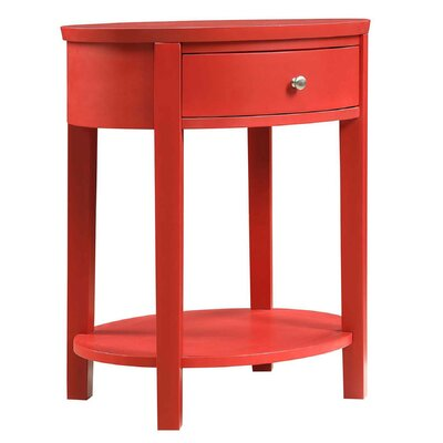 Canterbury End Table with Storage Color: Red