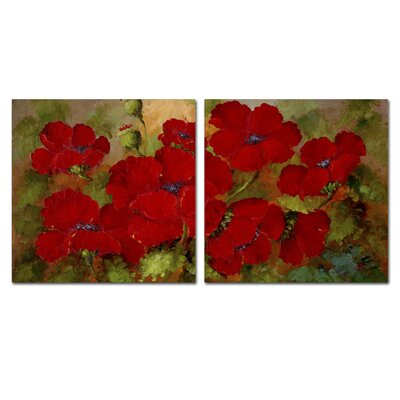 Poppies 2 Piece Painting Print Set