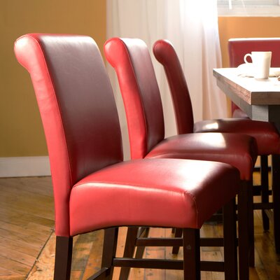 Mather 22 inch Bar Stool (Set of 2) Upholstery: Red