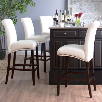 Mather 30 Bar Stool (Set of 2) Upholstery: White