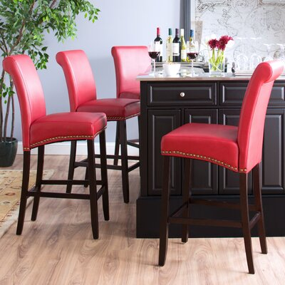 Mather 30 Bar Stool Upholstery: Red