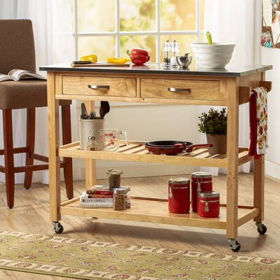 Byrnedale Kitchen Island with Stainless Steel Top Finish: Natural