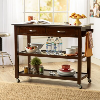 Byrnedale Kitchen Island with Stainless Steel Top Finish: Espresso