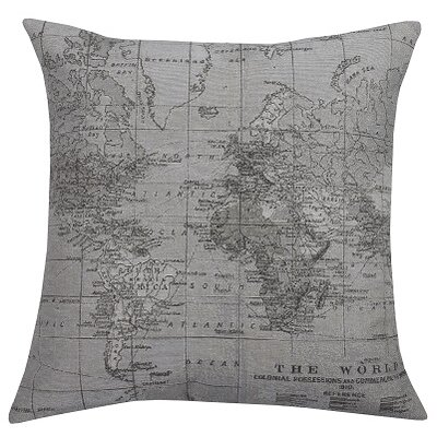Three Posts Blarwood Map Feathered Throw Pillow
