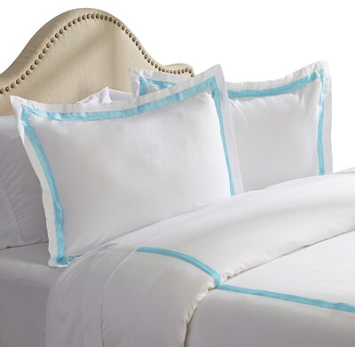 Bordered 600 Thread Count 3 Piece Duvet Cover Set Size: King, Color: Blue