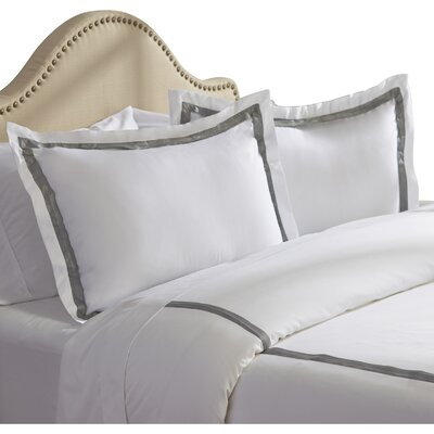 Bordered 600 Thread Count 3 Piece Duvet Cover Set Size: Queen, Color: Graphite