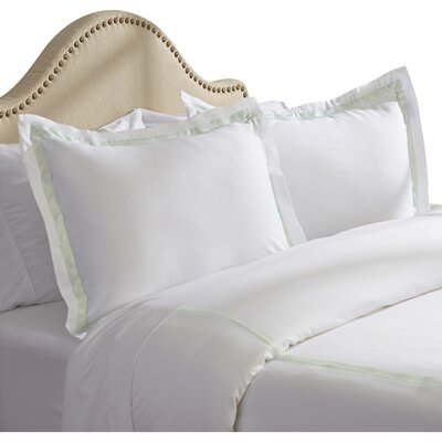Bordered 600 Thread Count 3 Piece Duvet Cover Set Size: Queen, Color: Jade