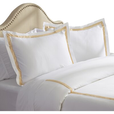 Bordered 600 Thread Count 3 Piece Duvet Cover Set Size: Queen, Color: Warm Sand