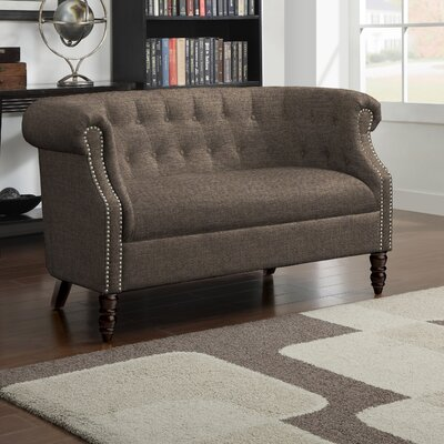 Huntingdon Chesterfield Loveseat Upholstery: Brown