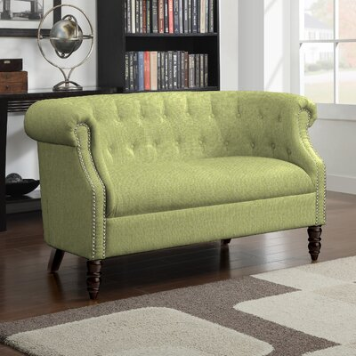 Huntingdon Chesterfield Loveseat Upholstery: Kiwi Green