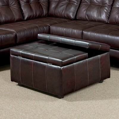 Serta Upholstery Williamsburg Storage Ottoman Color: Eastern Chocolate Bonded Leather
