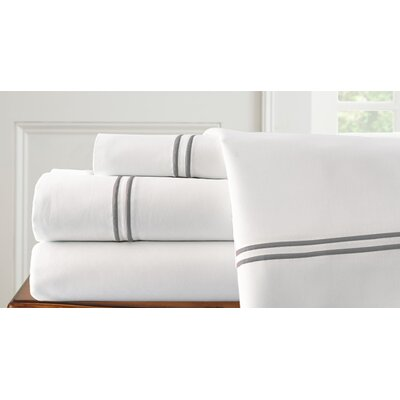 4 Piece Double Sheet Set Size: King, Color: White / Graphite