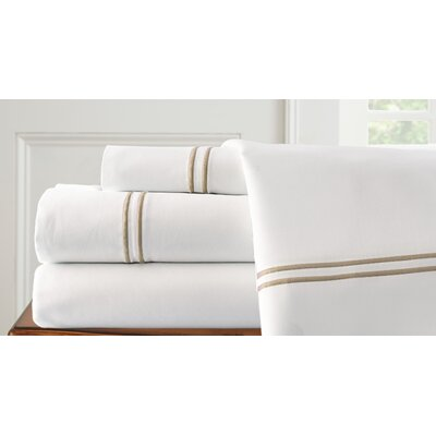 4 Piece Double Sheet Set Size: Queen, Color: White / Warm Sand