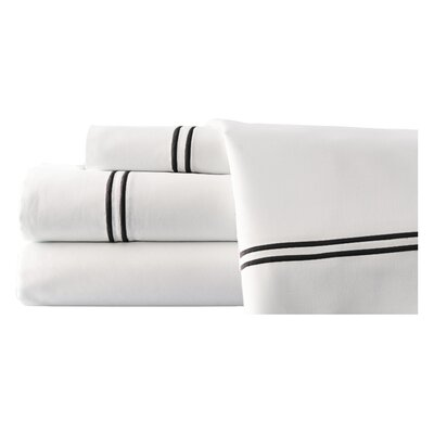 4 Piece Double Sheet Set Size: Queen, Color: White / Chocolate