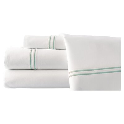 4 Piece Double Stripe Sheet Set Size: California King, Color: White / Celestial Blue