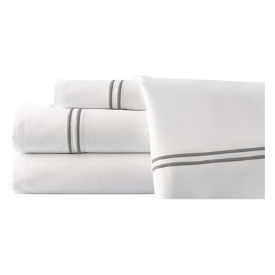 4 Piece Double Stripe Sheet Set Size: King, Color: White / Warm Sand