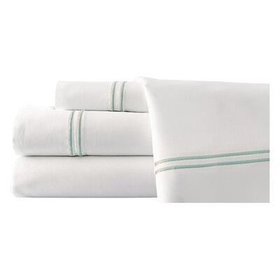 4 Piece Double Stripe Sheet Set Size: King, Color: White / Soft Jade