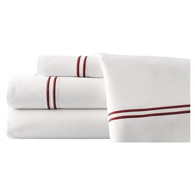 4 Piece Double Stripe Sheet Set Size: King, Color: White / Biking Red