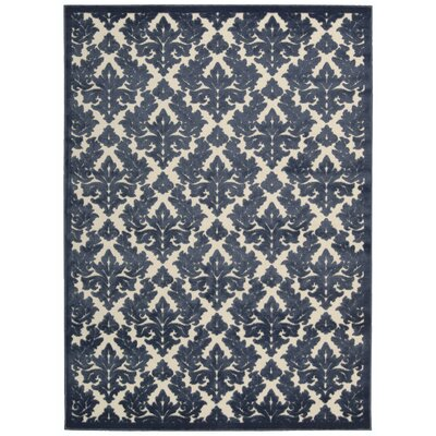 Weissport Ivory/Blue Area Rug Rug Size: Rectangle 76 x 96