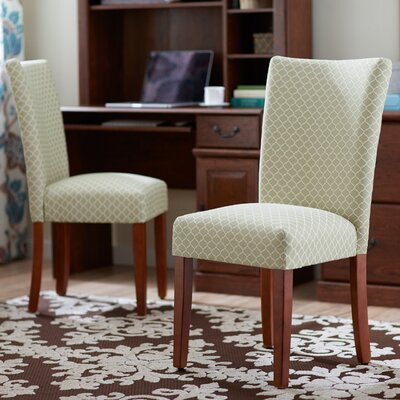 Waverly Parsons Chair Upholstery: Spring Green Mini Quatrefoil