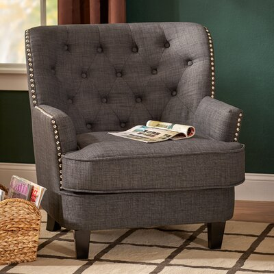 Porter Tufted Arm Chair Upholstery: Gray