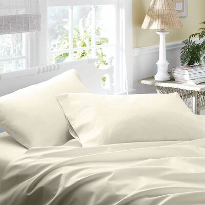 300 Thread Count 100% Cotton Sateen Sheet Set Color: Ecru, Size: King