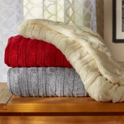 Deluxe Cable Knit Throw Blanket