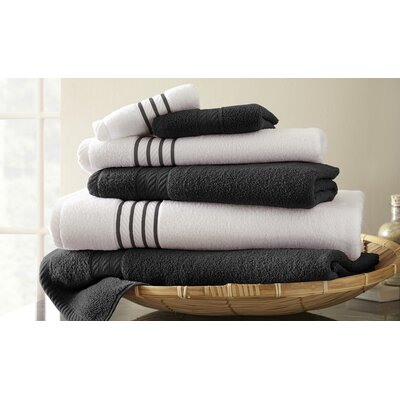 Lapeer Superior Combed Cotton 6 Piece Striped Towel Set Color: Black