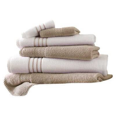 Lapeer Superior Combed Cotton 6 Piece Striped Towel Set Color: Taupe