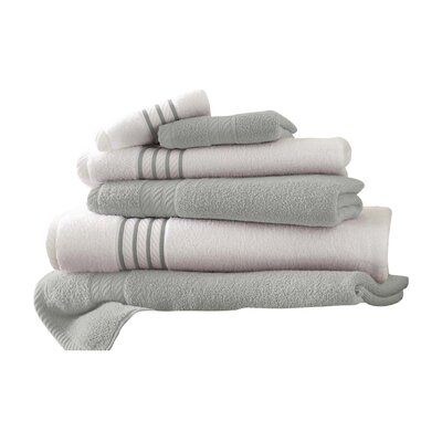 Lapeer Superior Combed Cotton 6 Piece Striped Towel Set Color: Silver
