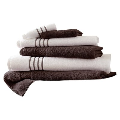 Lapeer Superior Combed Cotton 6 Piece Striped Towel Set Color: Mocha
