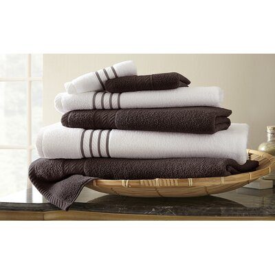 Lapeer Superior Combed Cotton 6 Piece Striped Towel Set Color: Mocha