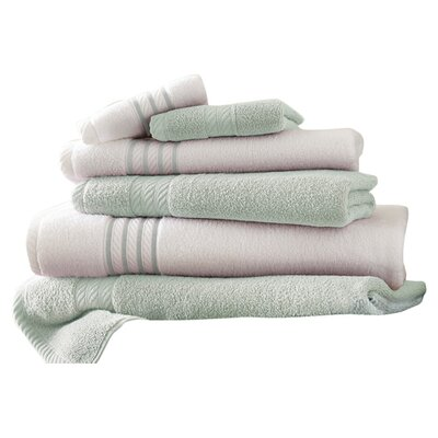 Lapeer Superior Combed Cotton 6 Piece Striped Towel Set Color: Soft Jade