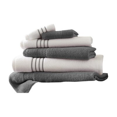 Lapeer Superior Combed Cotton 6 Piece Striped Towel Set Color: Platinum