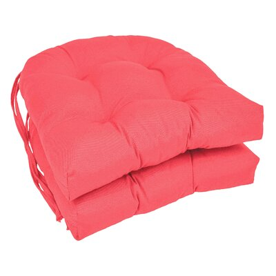 Outdoor Solid Twill Dining Chair Cushion Color: Pink