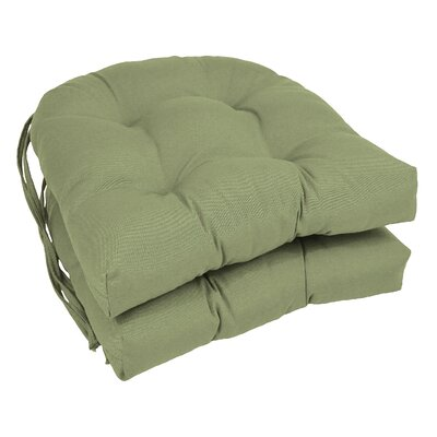 Outdoor Solid Twill Dining Chair Cushion Color: Sage