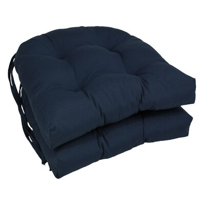 Outdoor Solid Twill Dining Chair Cushion Color: Navy