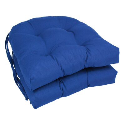 Outdoor Solid Twill Dining Chair Cushion Color: Royal Blue