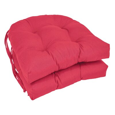 Outdoor Solid Twill Dining Chair Cushion Color: Berry Berry