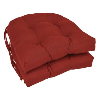Outdoor Solid Twill Dining Chair Cushion Color: Ruby Red