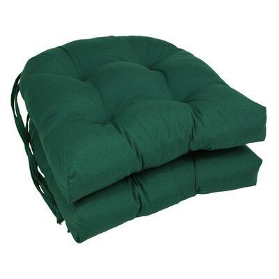 Outdoor Solid Twill Dining Chair Cushion Color: Forest Green