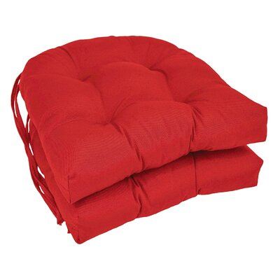 Outdoor Solid Twill Dining Chair Cushion Color: Red