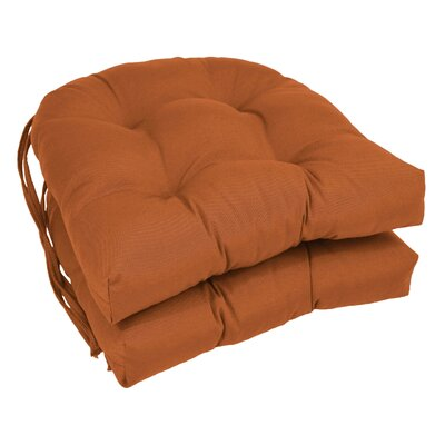 Outdoor Solid Twill Dining Chair Cushion Color: Spice