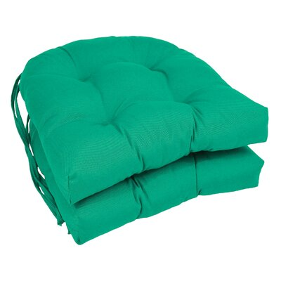 Outdoor Solid Twill Dining Chair Cushion Color: Emerald