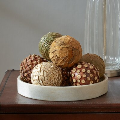 Autumnal 8 Piece Natural Ball Sculpture Set