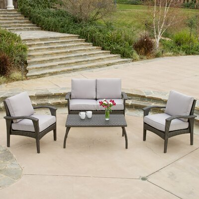 Bickford 4 Piece Deep Seating Group with Cushion Fabric: Gray