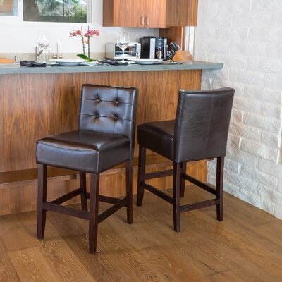 25.5 Bar Stool Upholstery: Brown