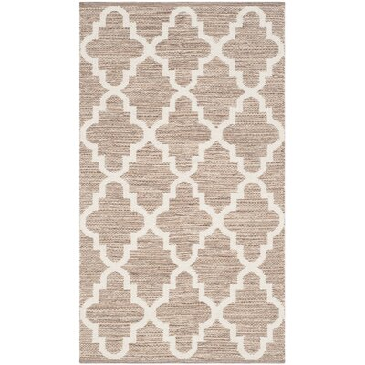 Eberhardt Hand-Woven Beige/Ivory Area Rug Rug Size: Rectangle 5 x 7