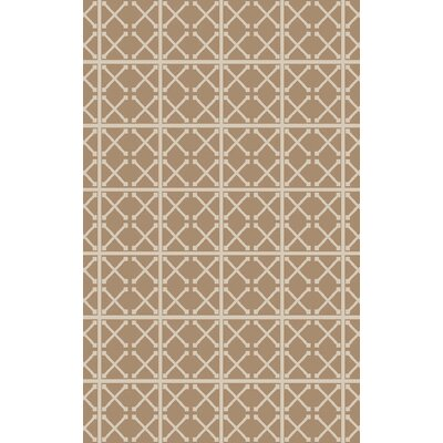 Hand-Woven Beige/Ivory Area Rug Rug Size: 5' x 7'6